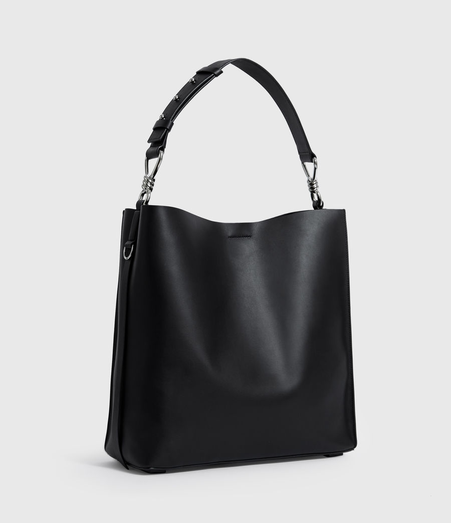 Women's Nina North South Leather Tote Bag (black) - Image 3
