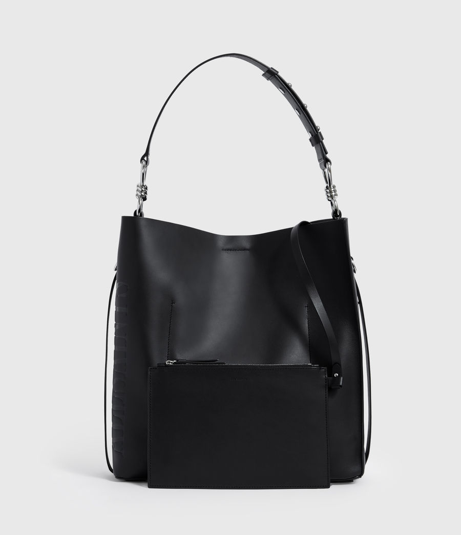 Women's Nina North South Leather Tote Bag (black) - Image 5