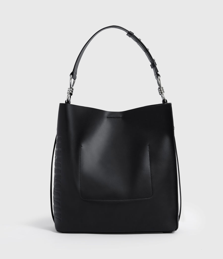 Women's Nina North South Leather Tote Bag (black) - Image 9