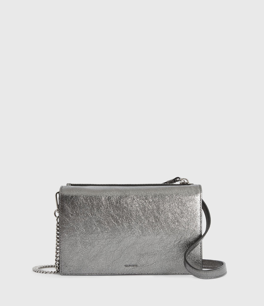 Women's Miki Lea Chain Leather Wallet Crossbody Bag (gunsmoke_grey) - Image 1
