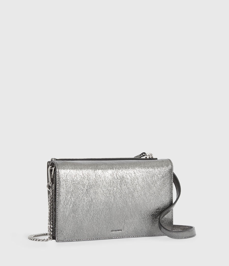 Women's Miki Lea Chain Leather Wallet Crossbody Bag (gunsmoke_grey) - Image 3