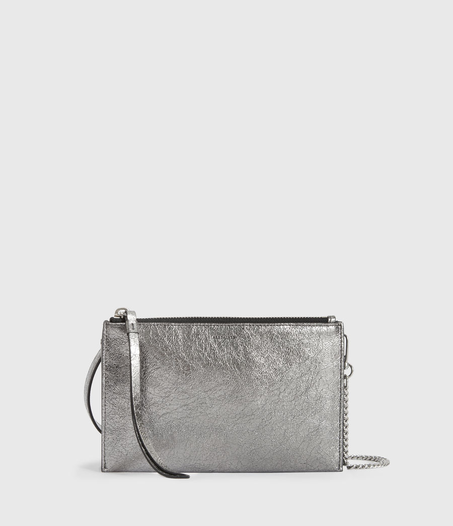 Women's Miki Lea Chain Leather Wallet Crossbody Bag (gunsmoke_grey) - Image 4
