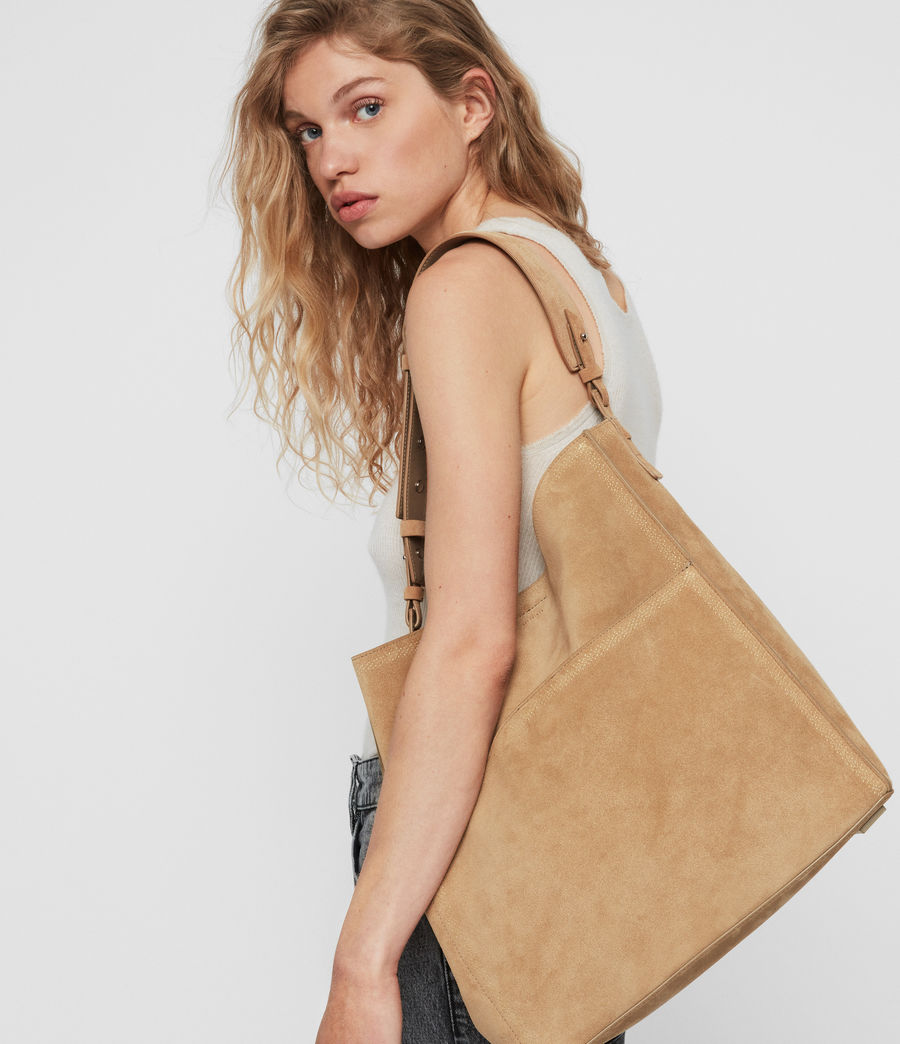 Womens Ziggy Suede North South Tote Bag (cappuccino) - Image 2