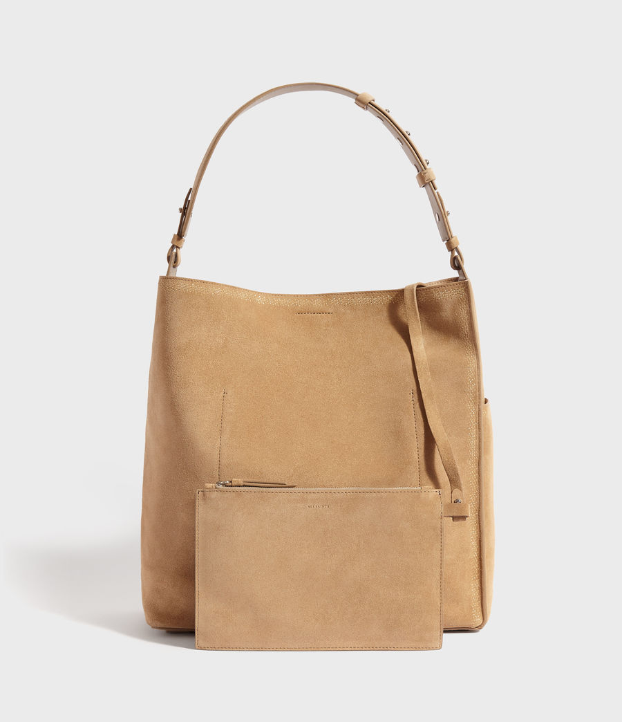 Womens Ziggy Suede North South Tote Bag (cappuccino) - Image 5