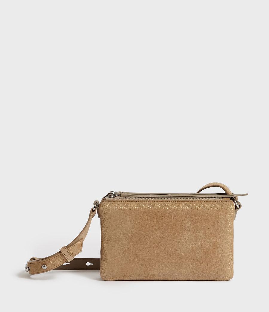 Womens Ziggy Suede Zip Crossbody Bag (cappuccino) - Image 1