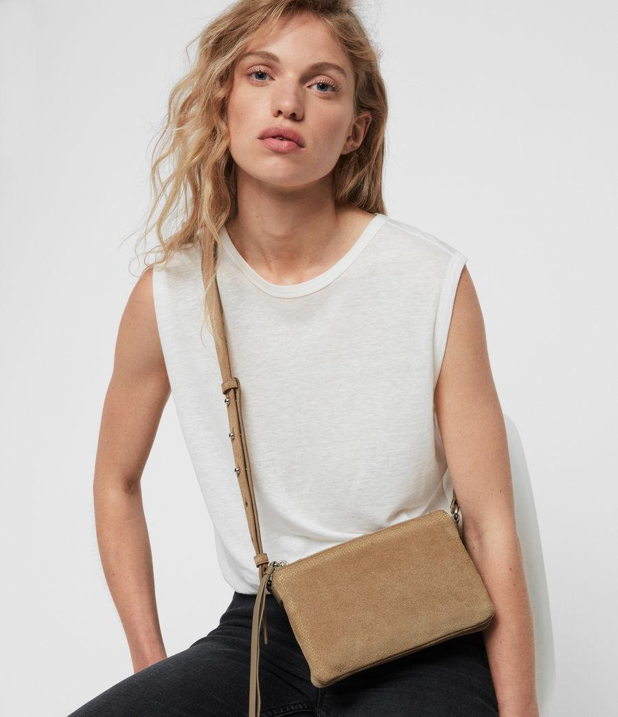 Women's Ziggy Suede Zip Crossbody Bag (cappuccino) - Image 1