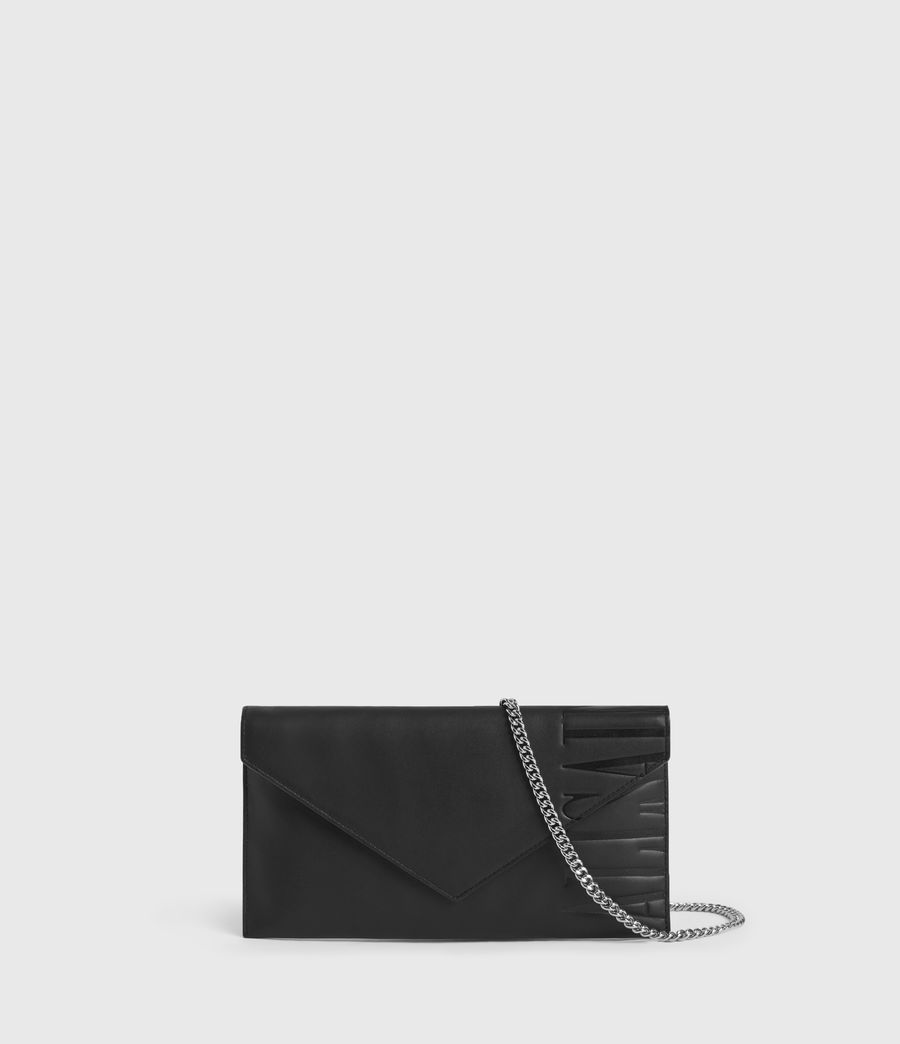 Women's Lever Leather Envelope Wallet (black) - Image 1
