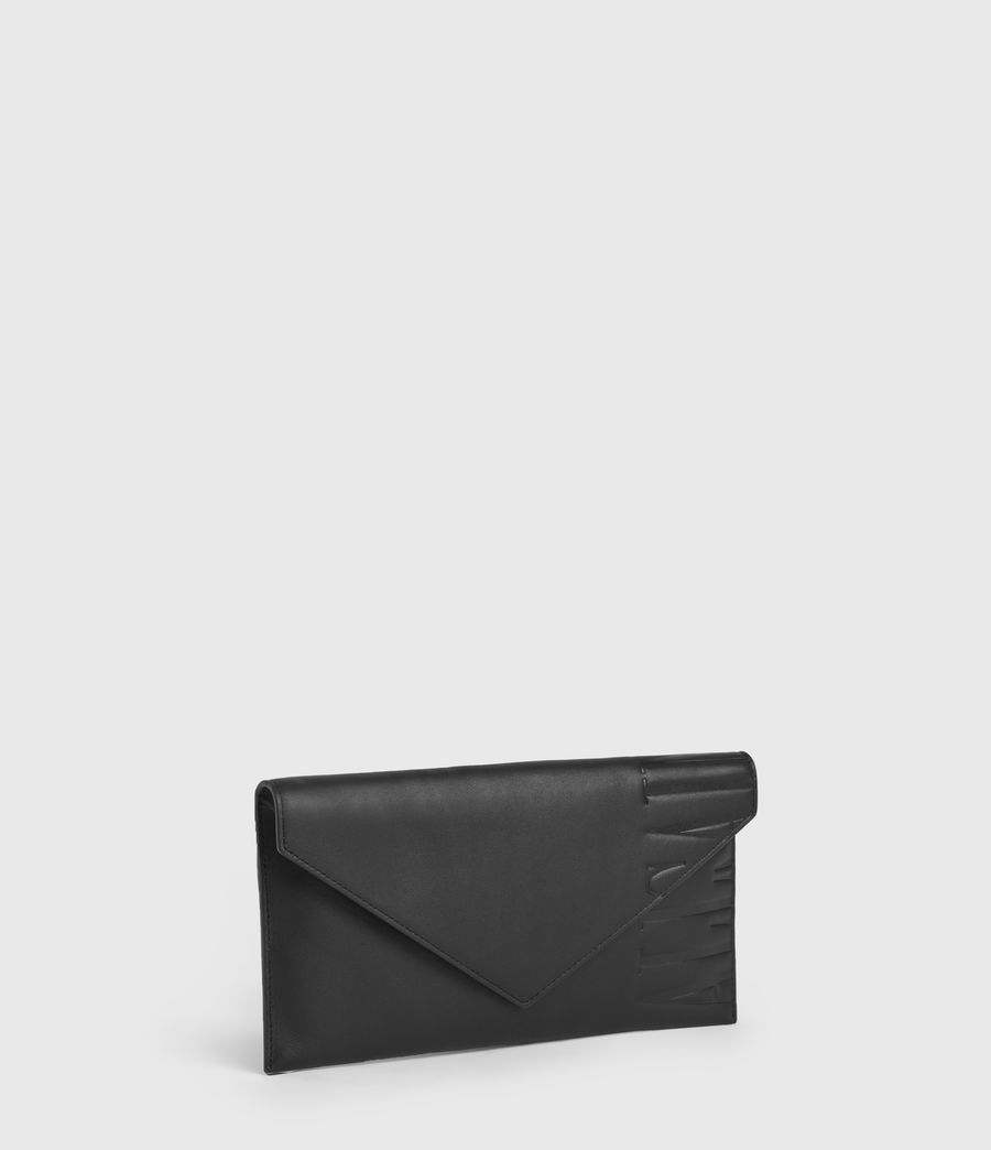 Women's Lever Leather Envelope Wallet (black) - Image 3