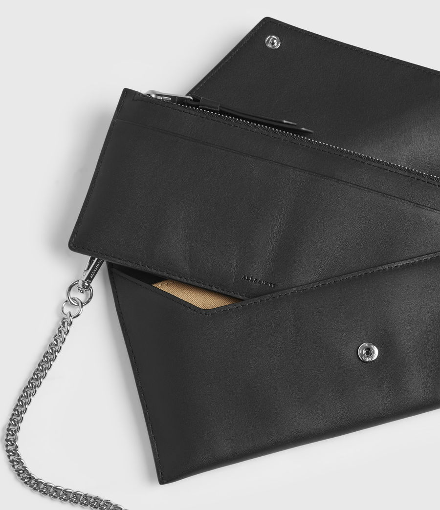 Women's Lever Leather Envelope Wallet (black) - Image 6