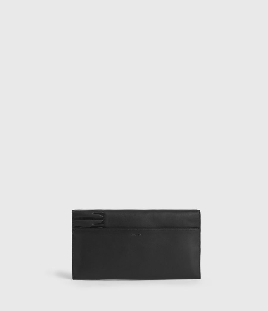Women's Lever Leather Envelope Wallet (black) - Image 7