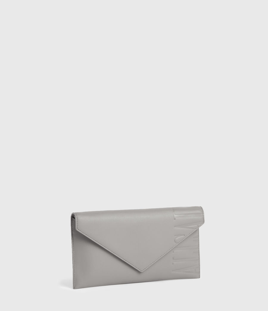 Women's Lever Leather Envelope Wallet (grey_mist) - Image 2