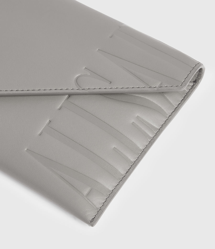 Women's Lever Leather Envelope Wallet (grey_mist) - Image 4