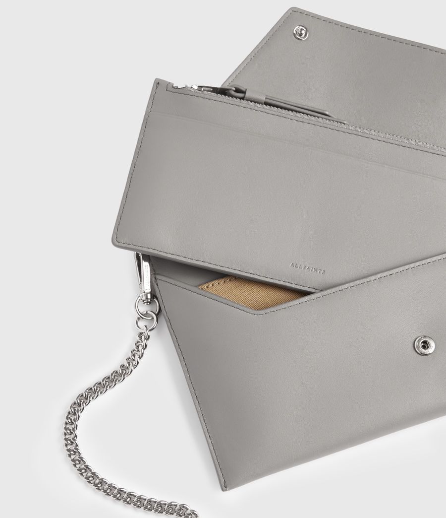 Women's Lever Leather Envelope Wallet (grey_mist) - Image 5