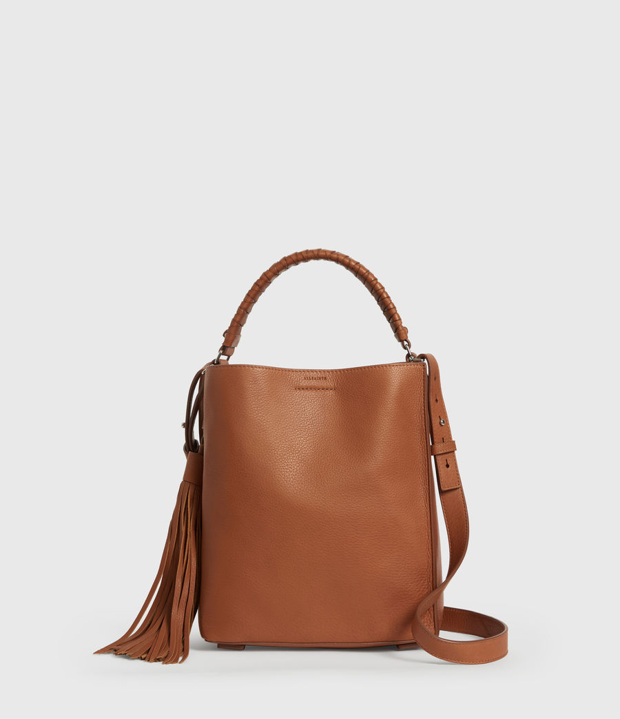 Women's Shirley Small North South Leather Tote Bag (tan) - Image 1
