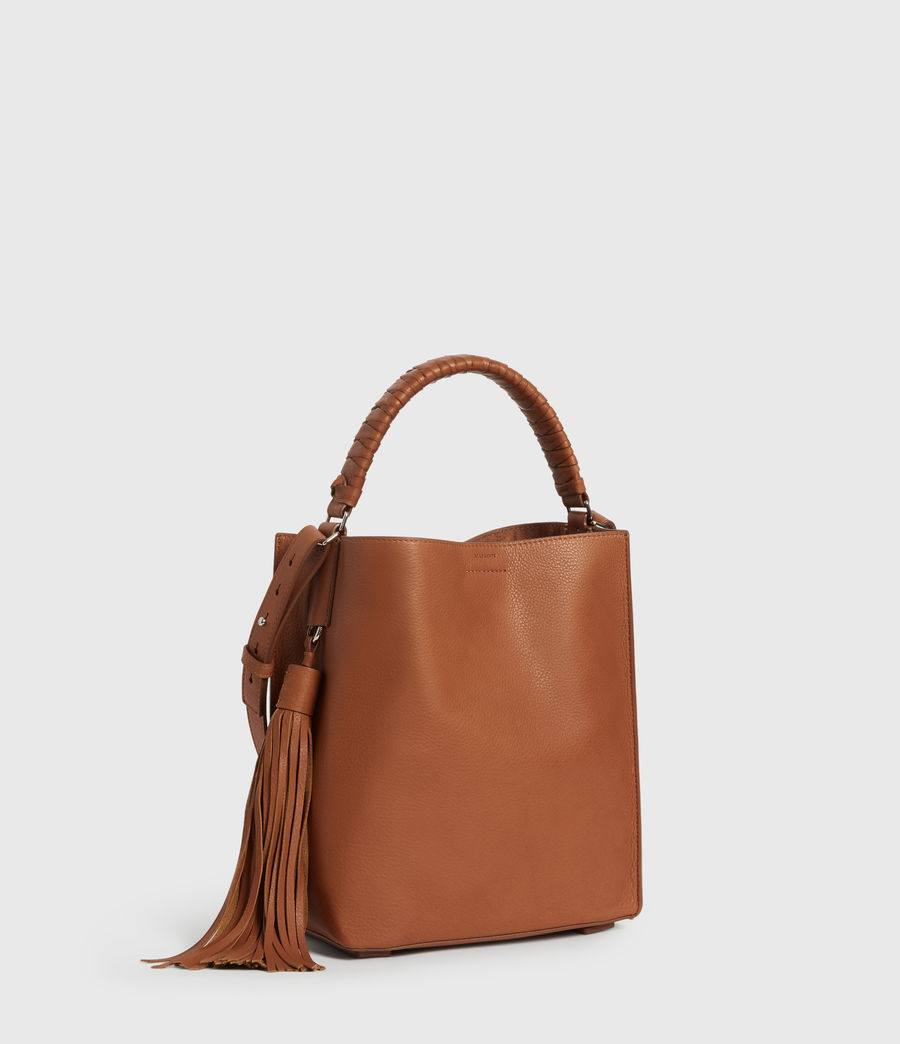 Women's Shirley Small North South Leather Tote Bag (tan) - Image 3