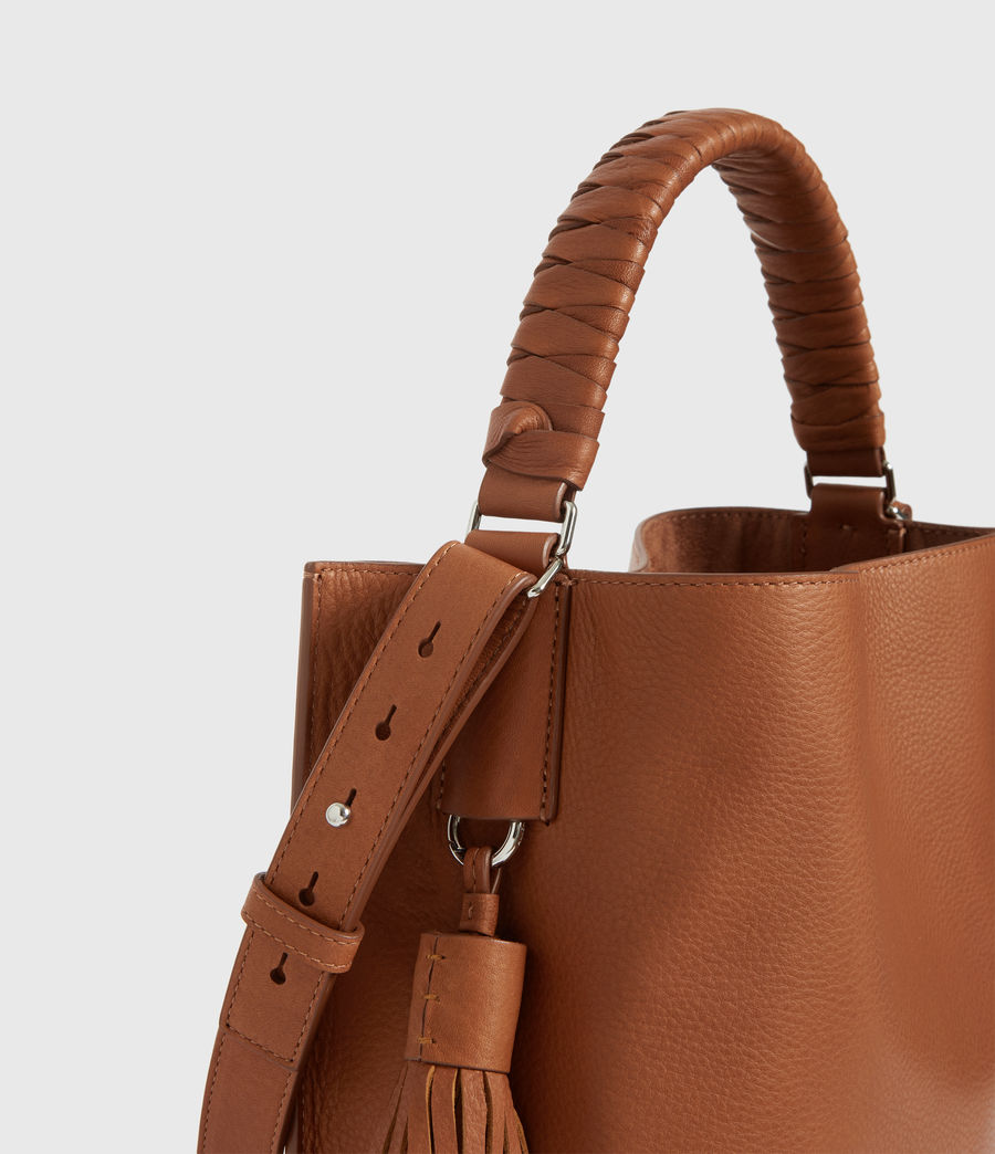 Women's Shirley Small North South Leather Tote Bag (tan) - Image 4
