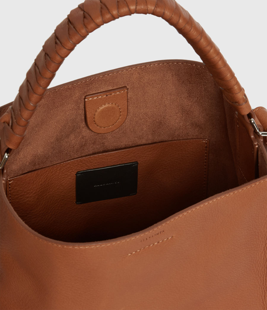 Women's Shirley Small North South Leather Tote Bag (tan) - Image 5