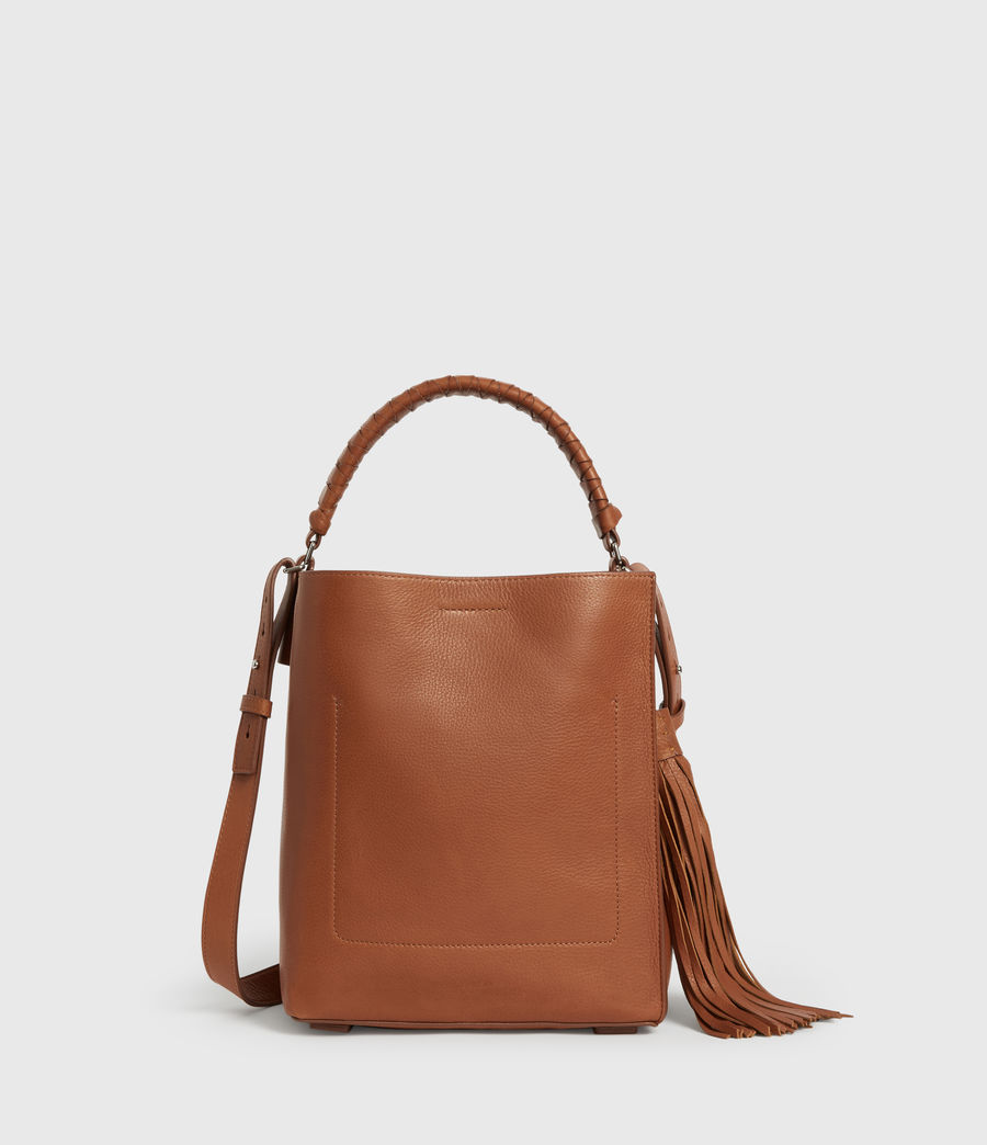 Women's Shirley Small North South Leather Tote Bag (tan) - Image 7