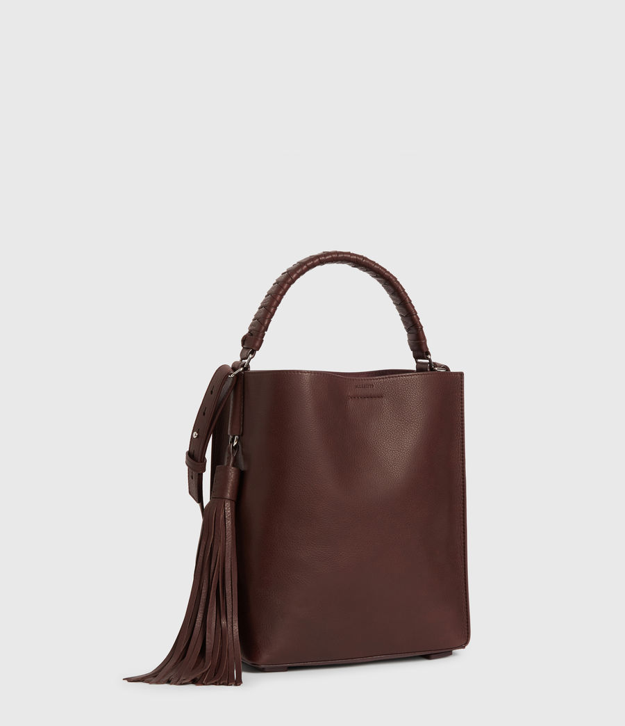 Womens Shirley Small North South Leather Tote Bag (bordeaux_red) - Image 3