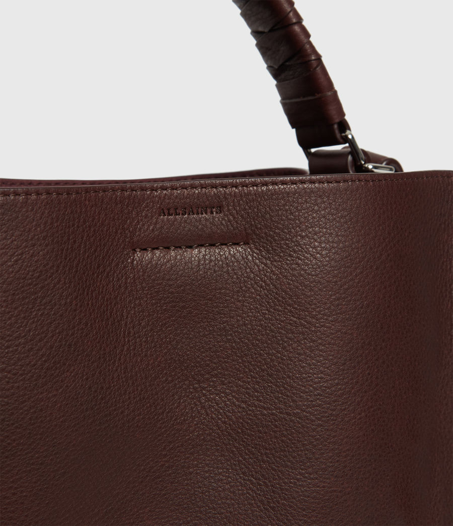 Womens Shirley Small North South Leather Tote Bag (bordeaux_red) - Image 4