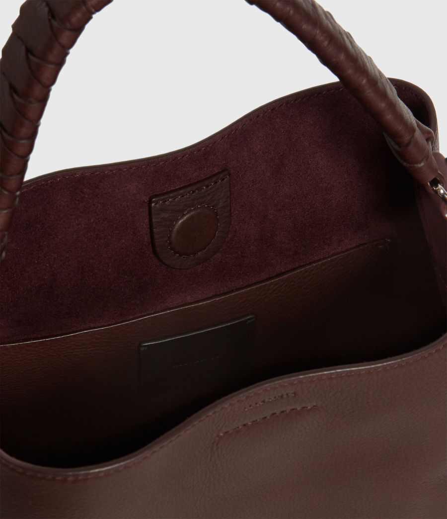 Womens Shirley Small North South Leather Tote Bag (bordeaux_red) - Image 5
