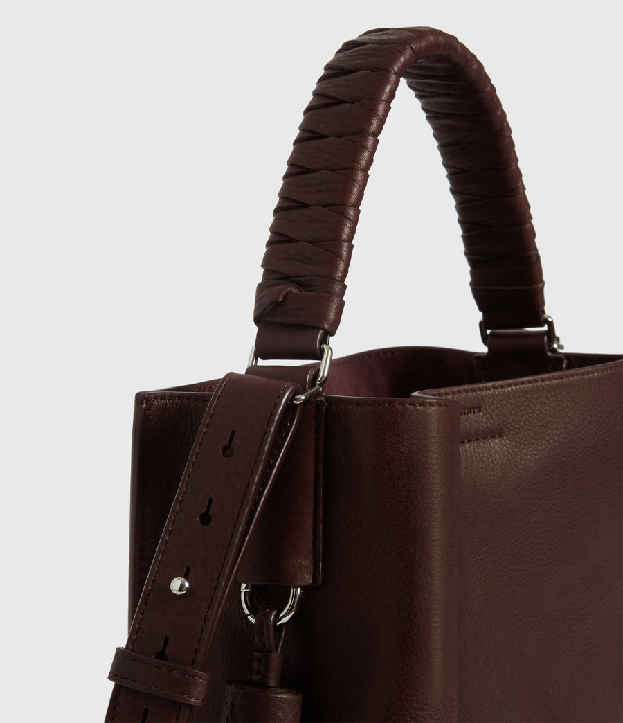 Womens Shirley Small North South Leather Tote Bag (bordeaux_red) - Image 6