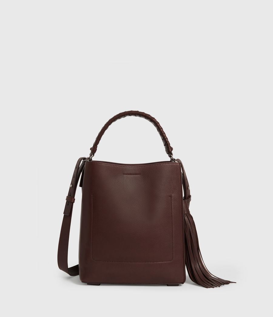 Womens Shirley Small North South Leather Tote Bag (bordeaux_red) - Image 7