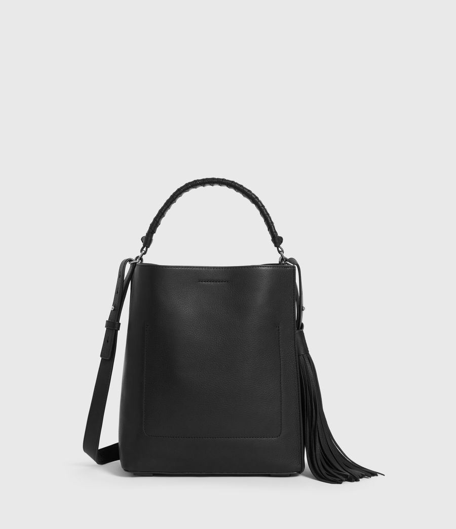 Womens Shirley Small North South Leather Tote Bag (black) - Image 6