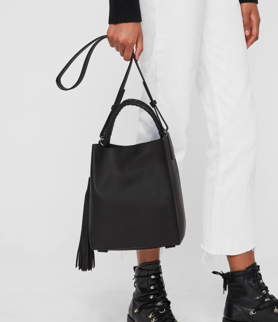 Womens Shirley Small North South Leather Tote Bag (black) - Image 7