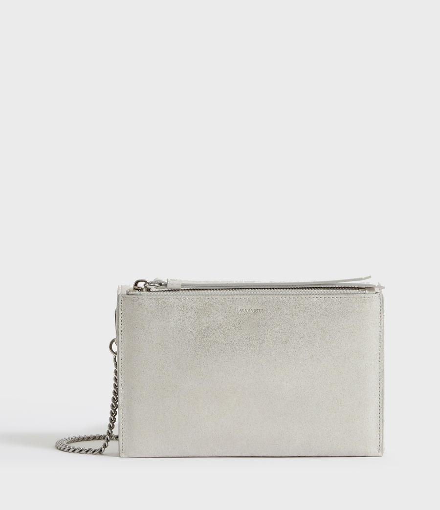 Womens Glitz Chain Wallet Leather Crossbody Bag (glittering_silver) - Image 6