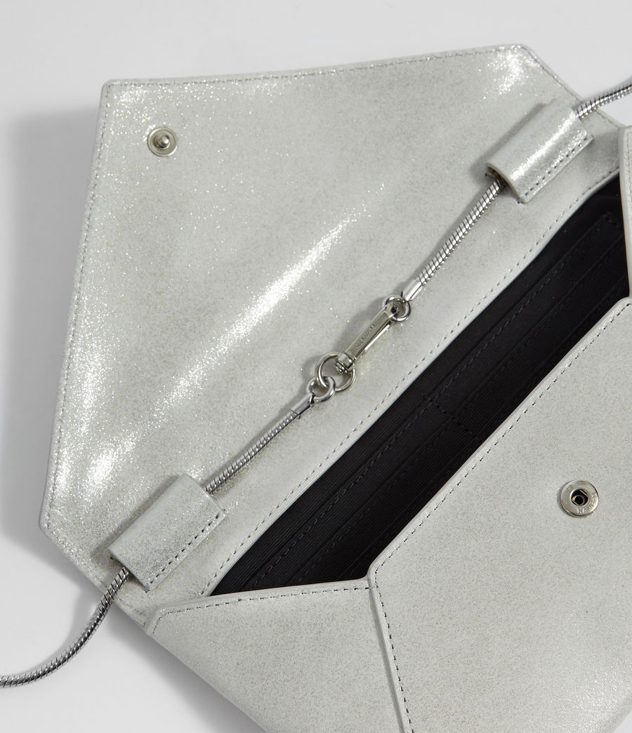 Womens Glitz Leather Clutch Bag (glittering_silver) - Image 2
