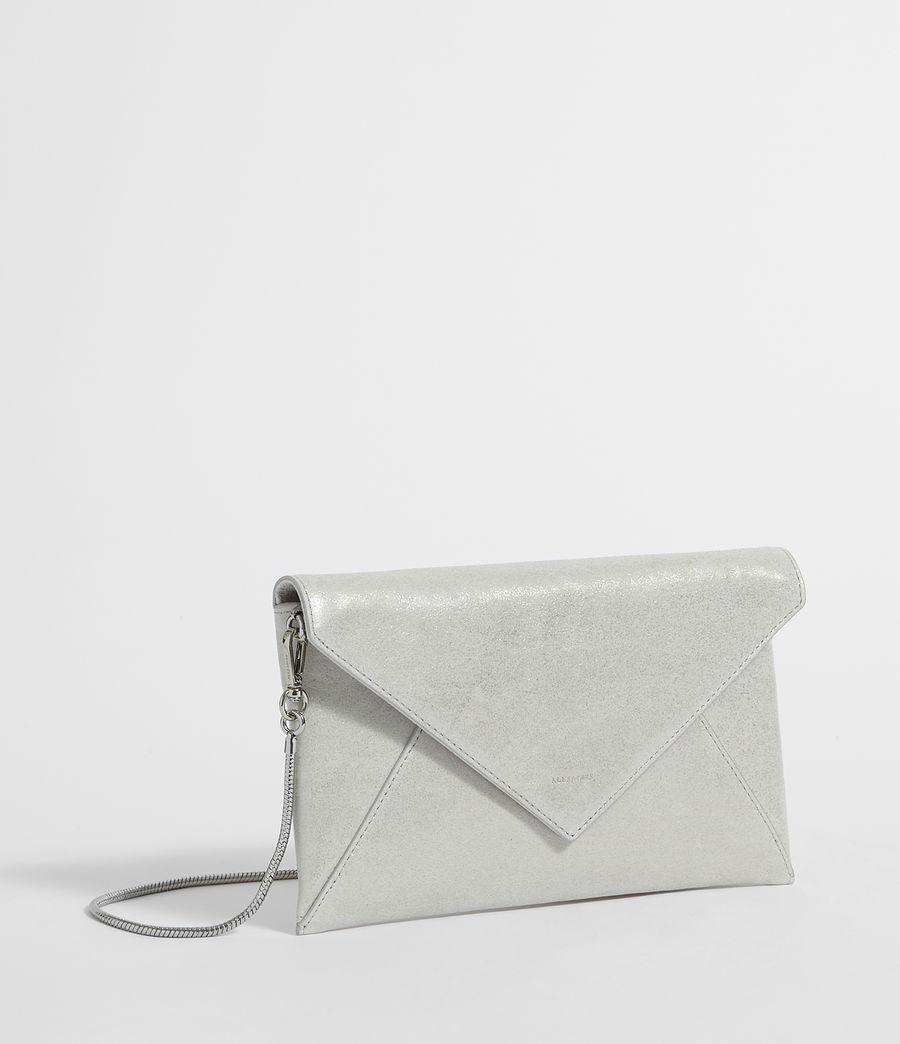 Womens Glitz Leather Clutch Bag (glittering_silver) - Image 4