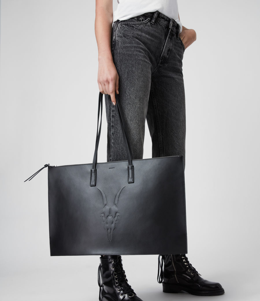 Womens Blythe East West Leather Tote Bag (black) - Image 2