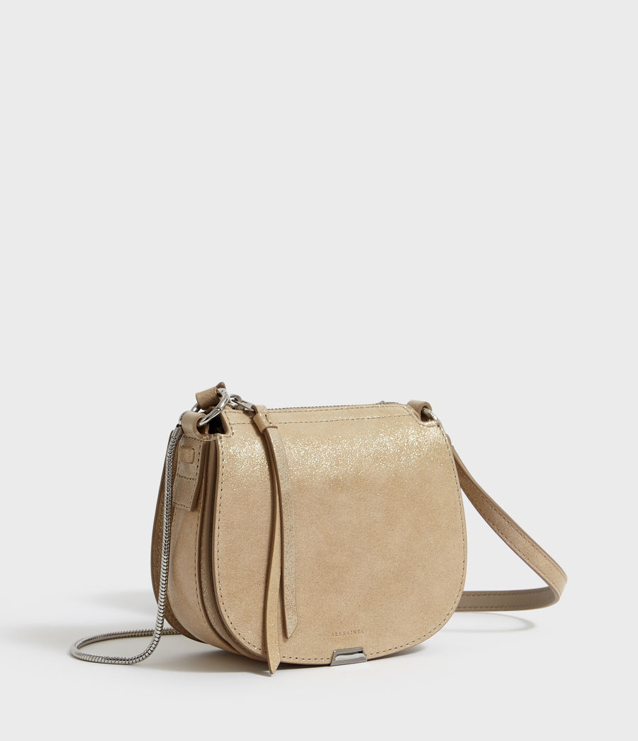 Womens Glitz Mini Round Leather Crossbody Bag (glittering_gold) - Image 4