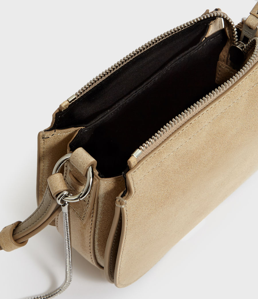 Mujer Glitz Mini Round Leather Crossbody Bag (glittering_gold) - Image 5