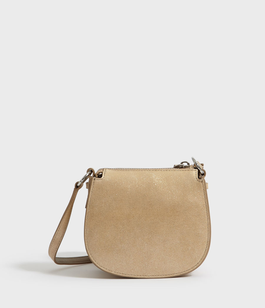 Womens Glitz Mini Round Leather Crossbody Bag (glittering_gold) - Image 8