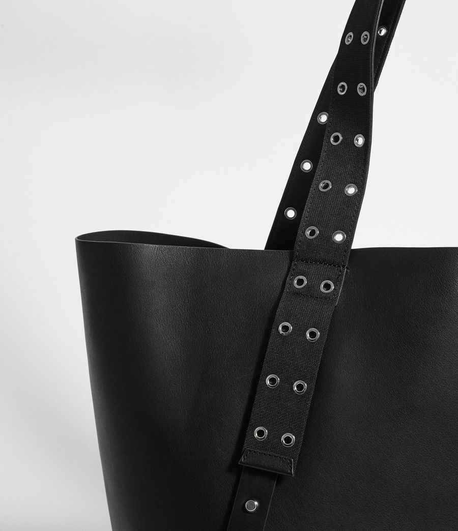 Women's Sid Leather East West Tote Bag (black) - Image 4