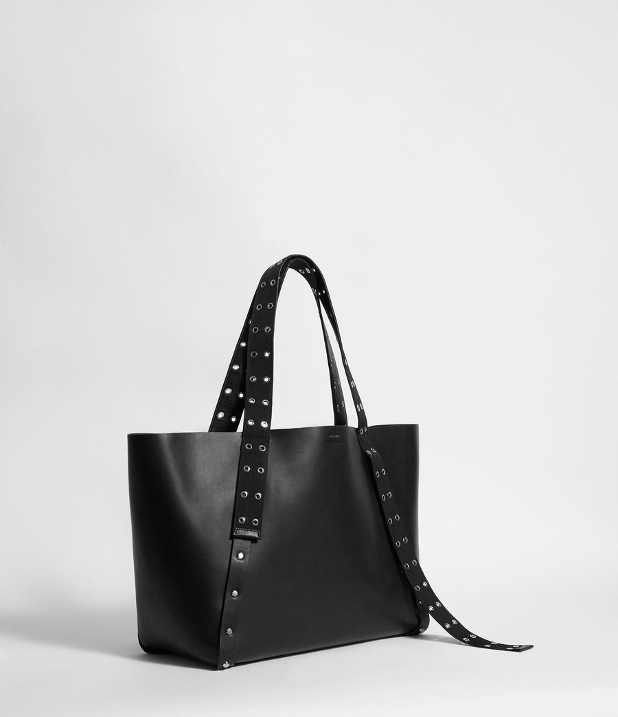 Women's Sid Leather East West Tote Bag (black) - Image 6