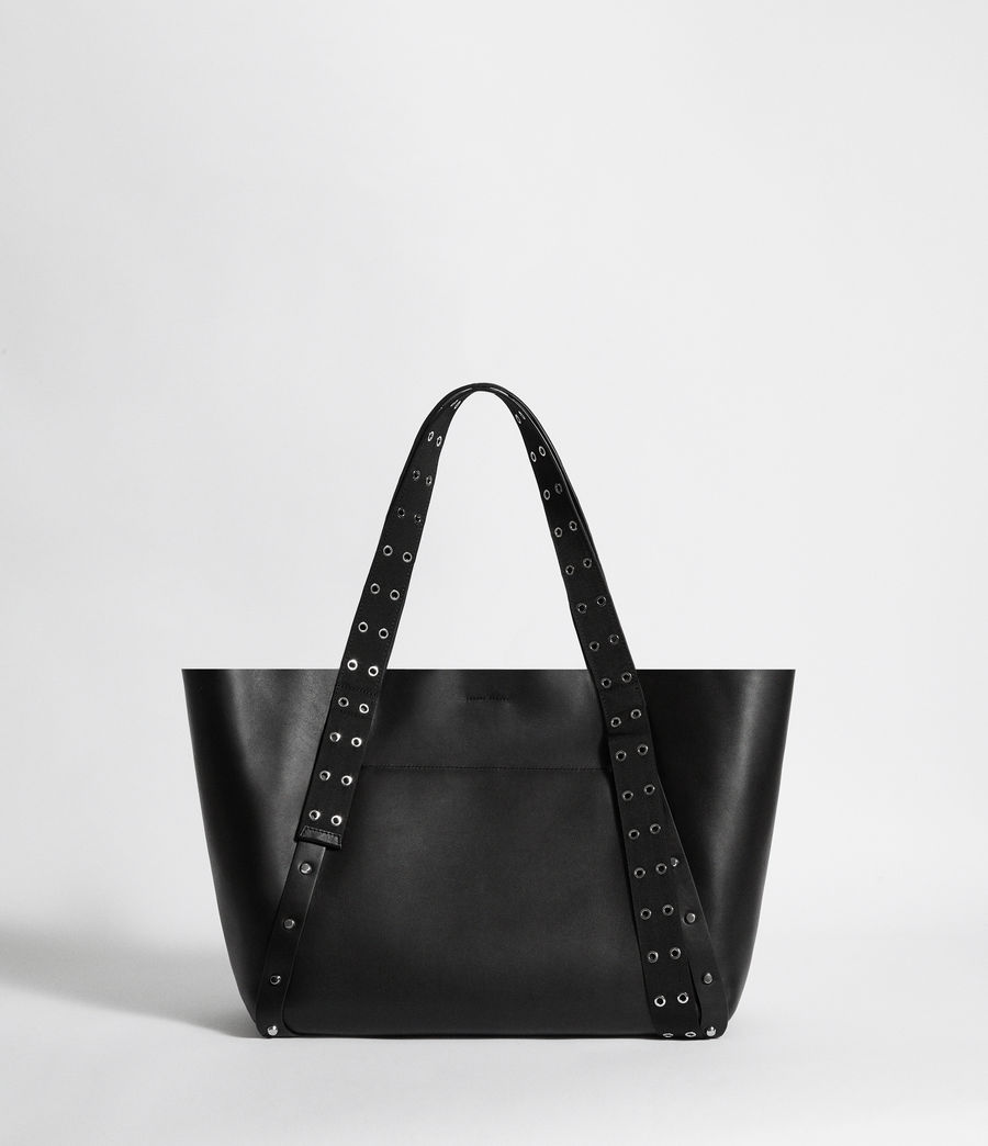Women's Sid Leather East West Tote Bag (black) - Image 8
