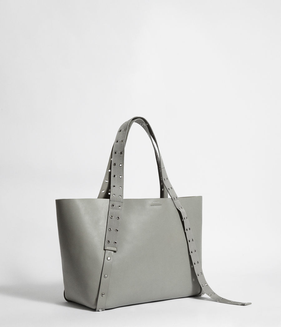 Women's Sid Leather East West Tote Bag (blue_grey) - Image 5