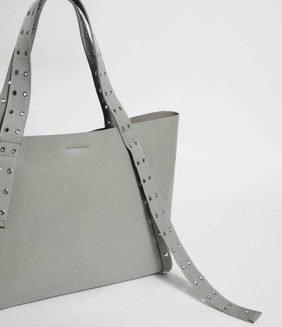 Women's Sid Leather East West Tote Bag (blue_grey) - Image 6