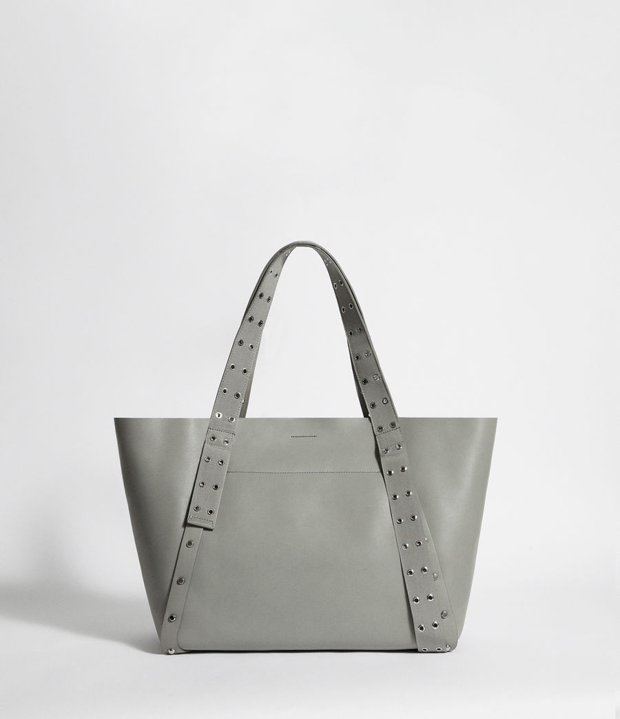 Women's Sid Leather East West Tote Bag (blue_grey) - Image 7