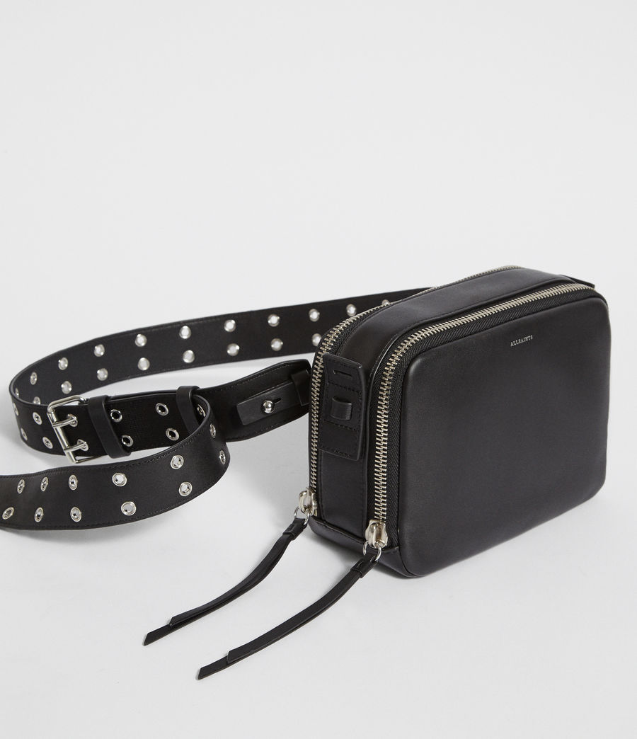 Womens Sid Leather Fanny Pack Crossbody Bag (black) - Image 2