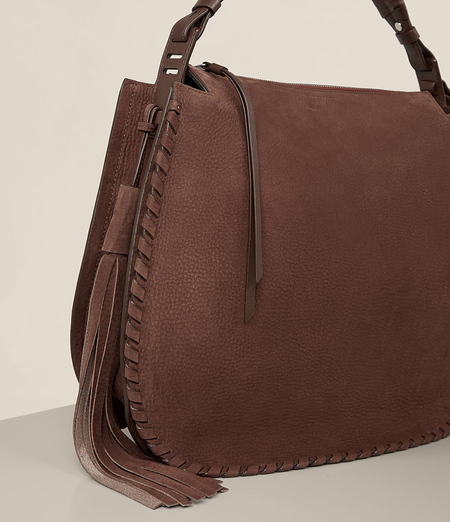 Femmes Sac hobo Mori en nubuck (chocolate_brown) - Image 3
