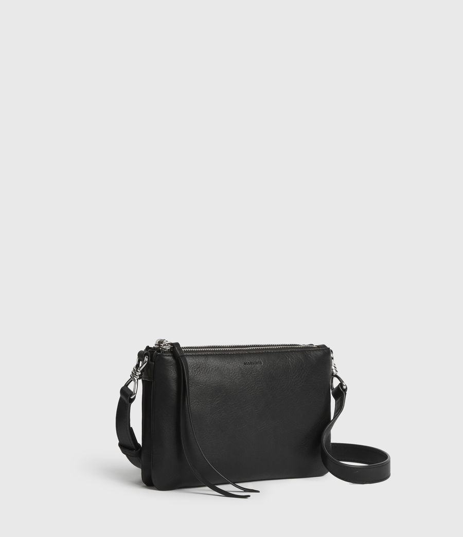 Womens Captain Leather Zip Crossbody Bag (black) - Image 3