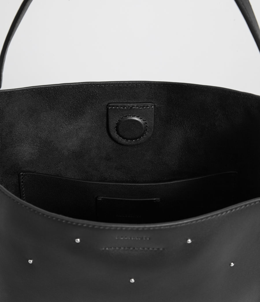 Women's Kathi Small North South Leather Tote Bag (black) - Image 7