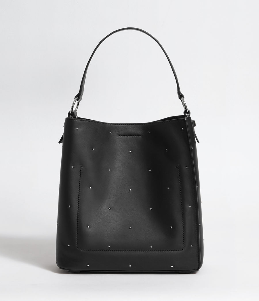 Women's Kathi Small North South Leather Tote Bag (black) - Image 8