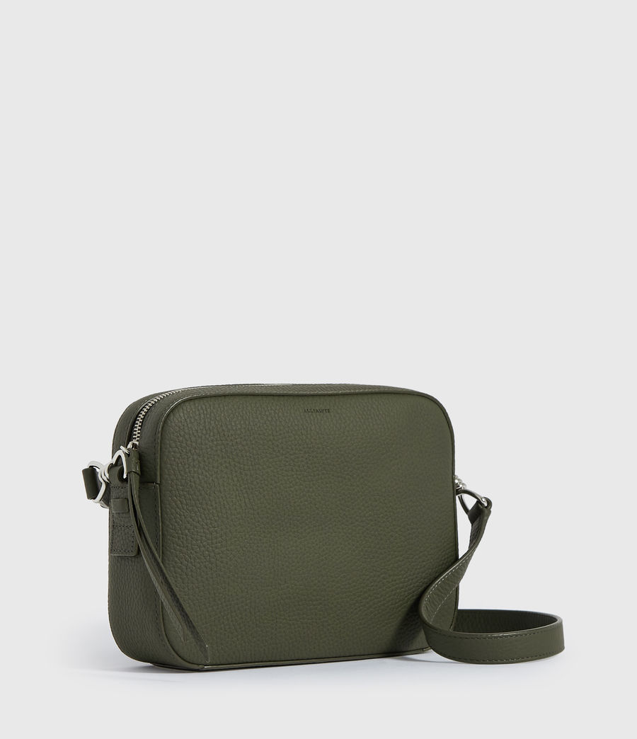 Damen Captain Lea Leather Square Crossbody Bag (khaki_green) - Image 3