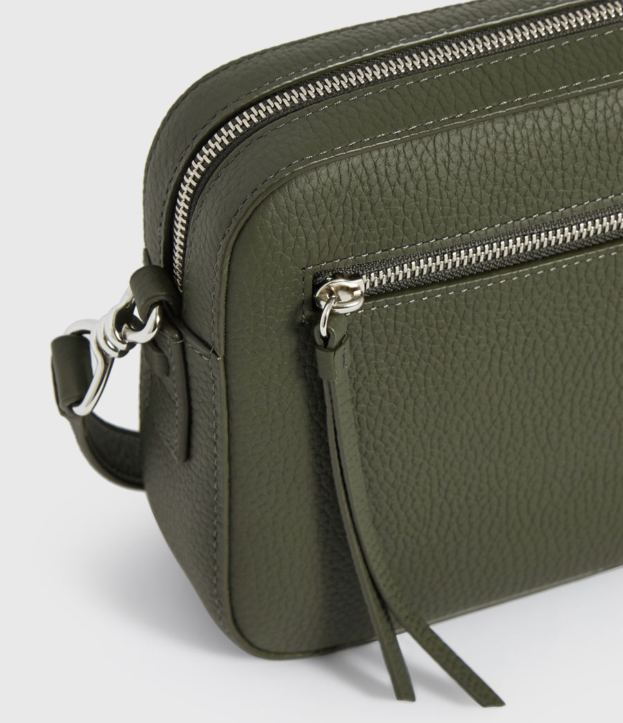 Damen Captain Lea Leather Square Crossbody Bag (khaki_green) - Image 6