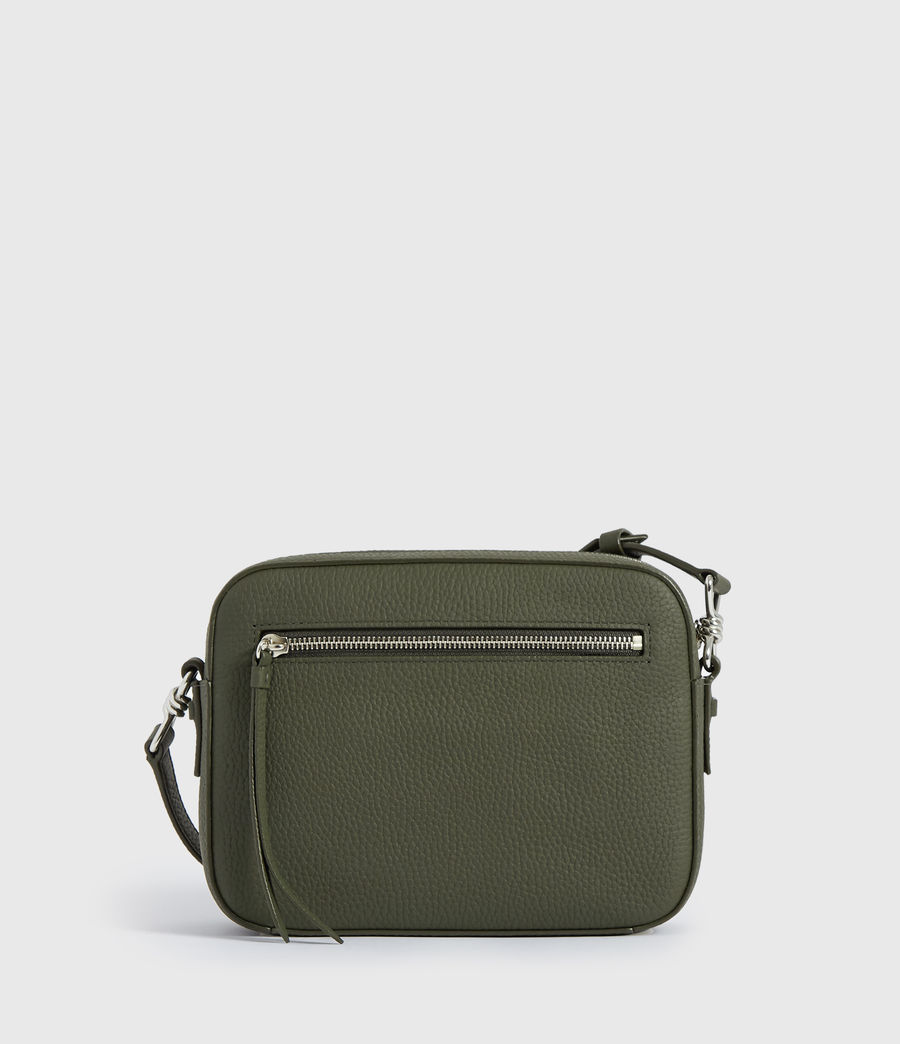 Womens Captain Lea Leather Square Crossbody Bag (khaki_green) - Image 4